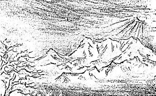 – 大夕張風物 – 朝日にはえる夕張岳