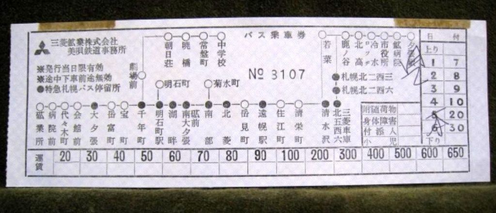 地図式バス乗車券(三菱バス・夕鉄バス)
