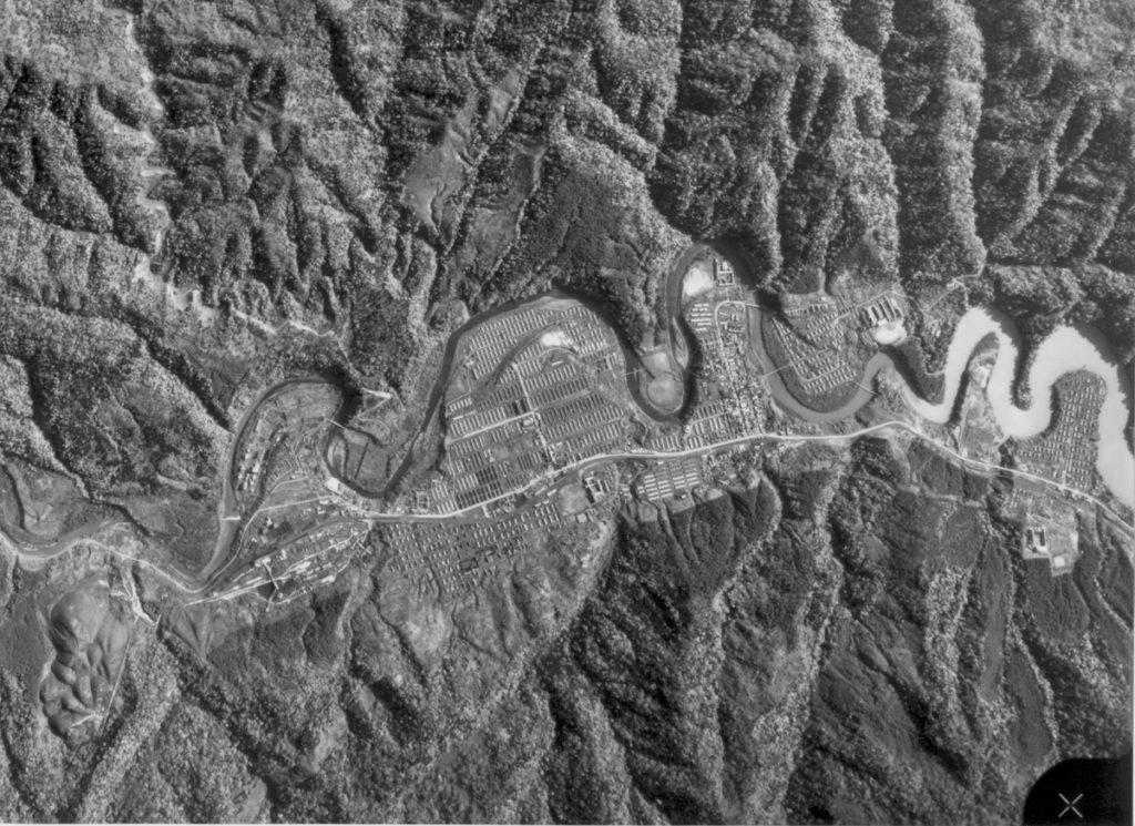 大夕張の全景(航空写真)昭和47年