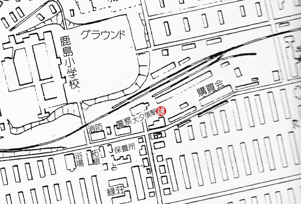大夕張駅付近建物配置図