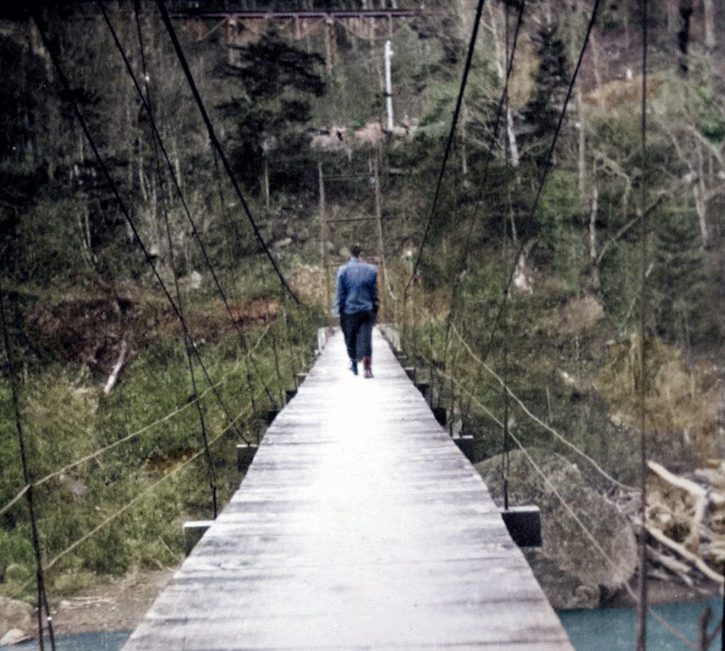 桜ヶ岡 3号つり橋から鉄橋